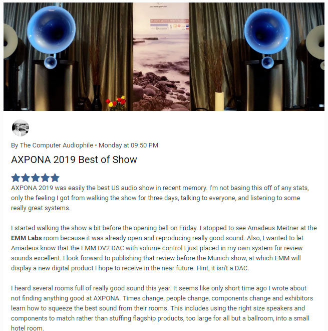 American Sound Distribution BEST IN SHOW AXPONA 2019